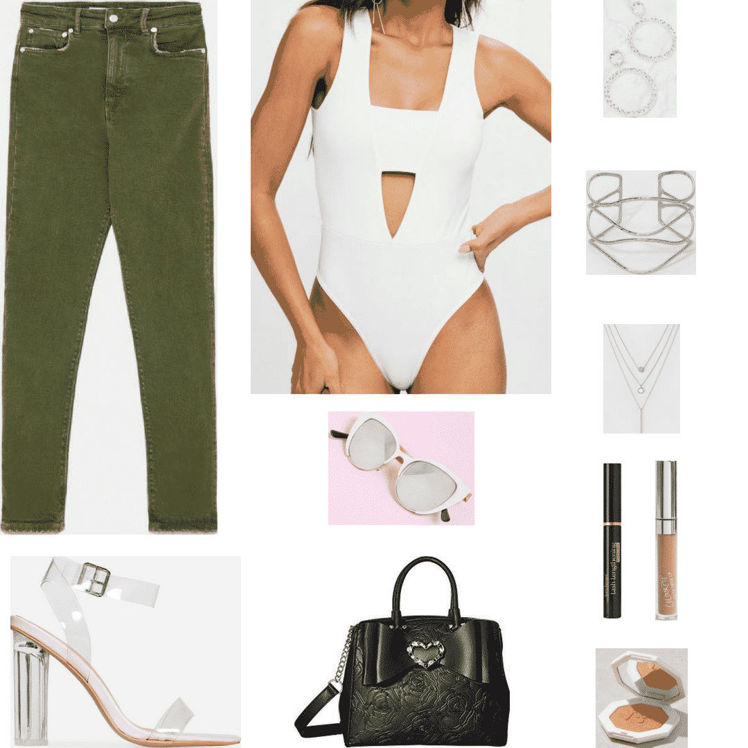Olive jeans outfit for night with white bodysuit, perspex heels, purse, jewelry