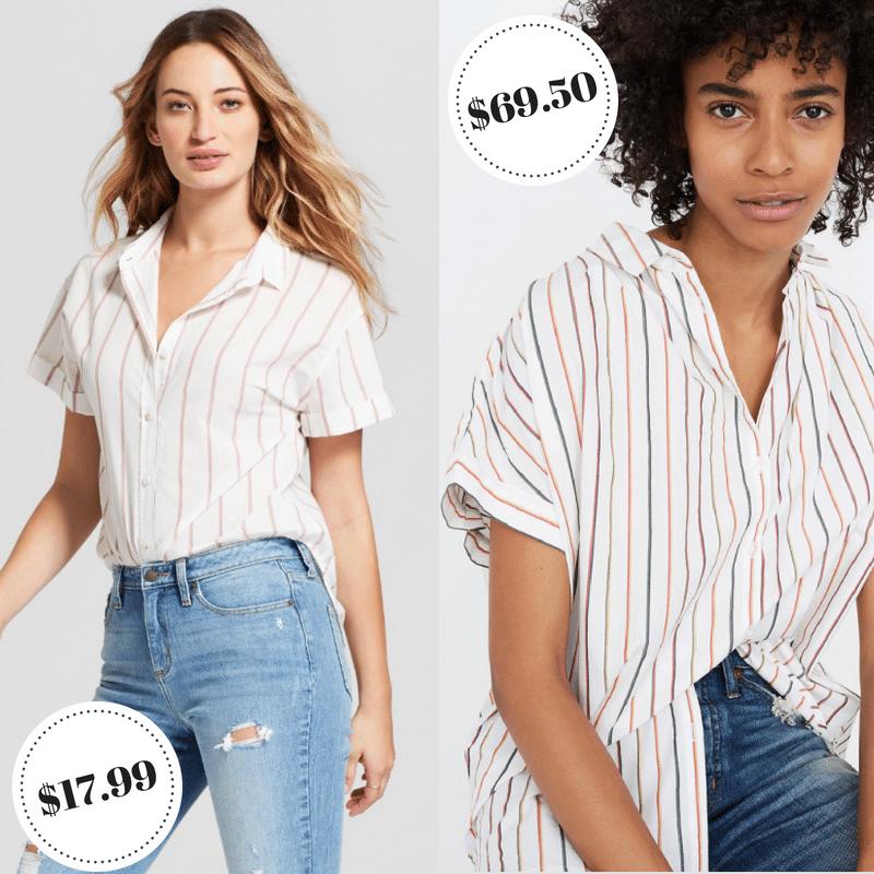 Target Universal thread vs Madewell striped blouse