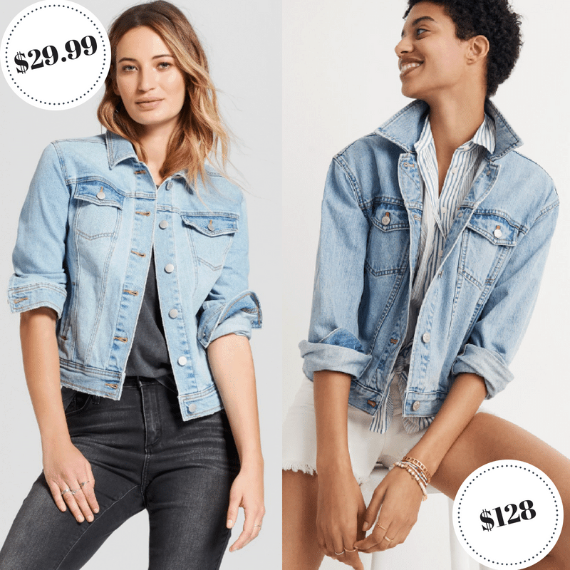 Light wash denim jackets from Target and Madewell