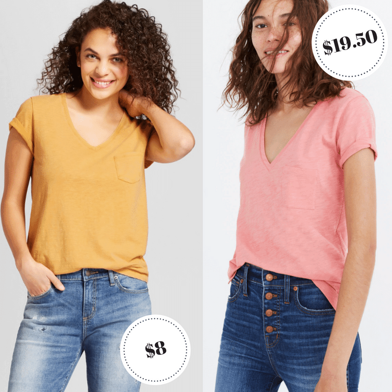 V neck pocket tees from Target and Madewell