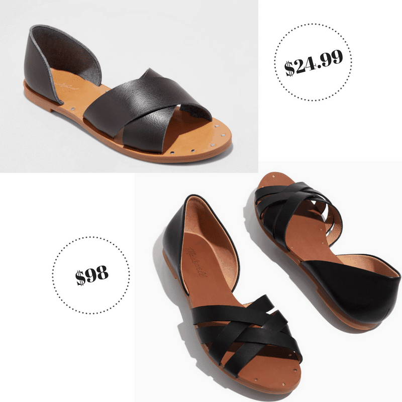Black nailhead sandals from Target and Madewell