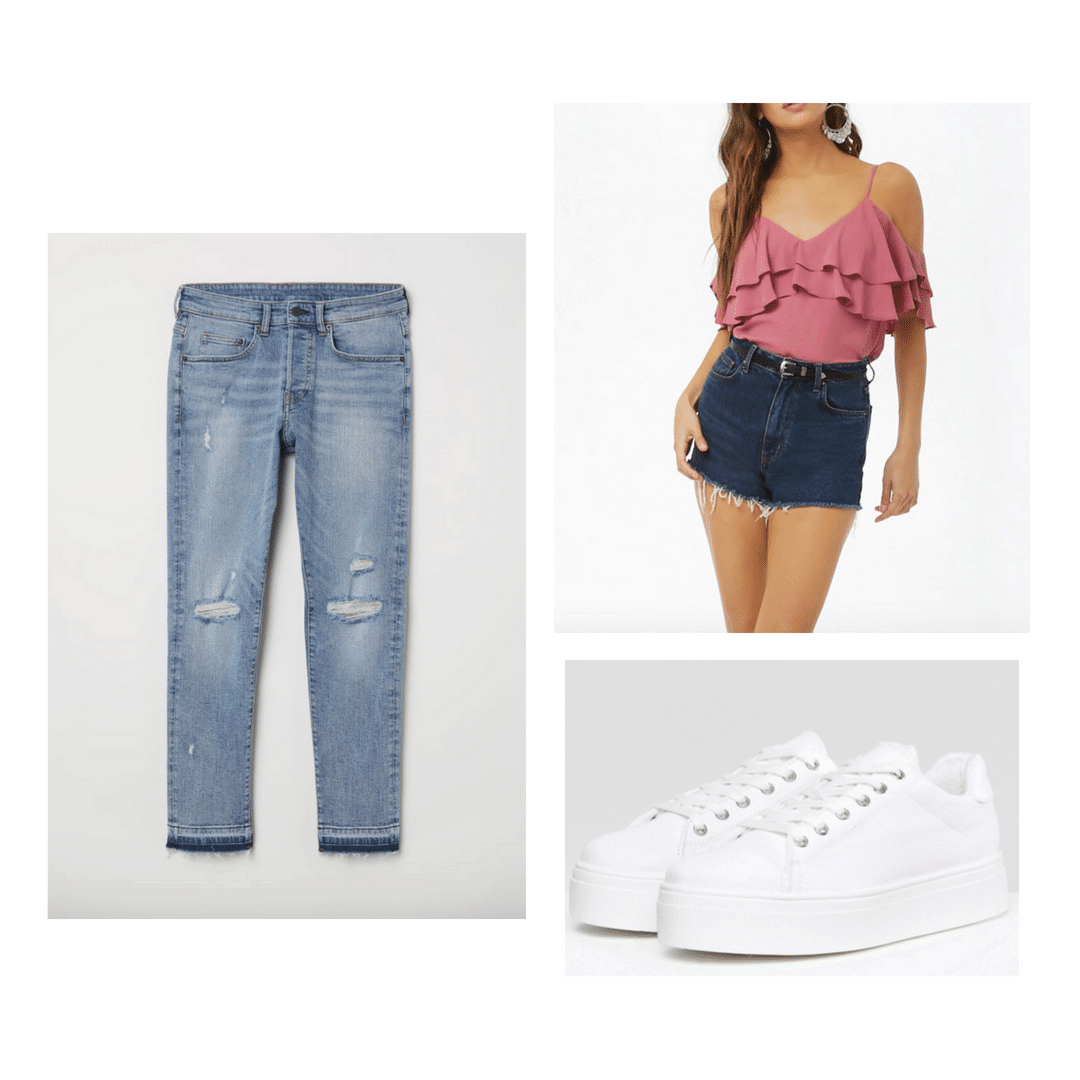 casual bridal shower outfit with jeans