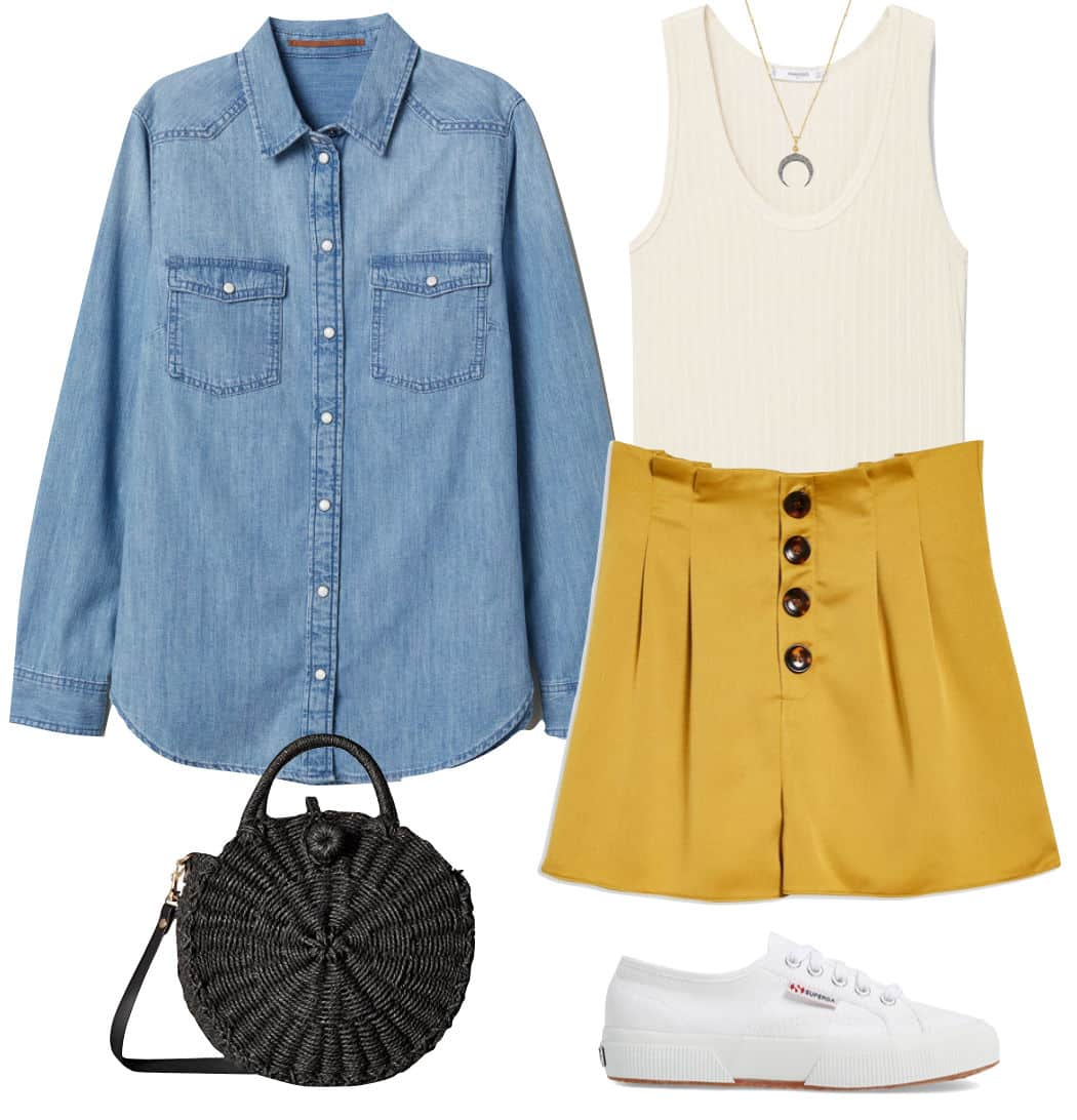 Lucy Hale Outfit: denim shirt, white ribbed tank top, yellow button-front high waist shorts, black round straw bag, horn pendant necklace, white low-top sneakers