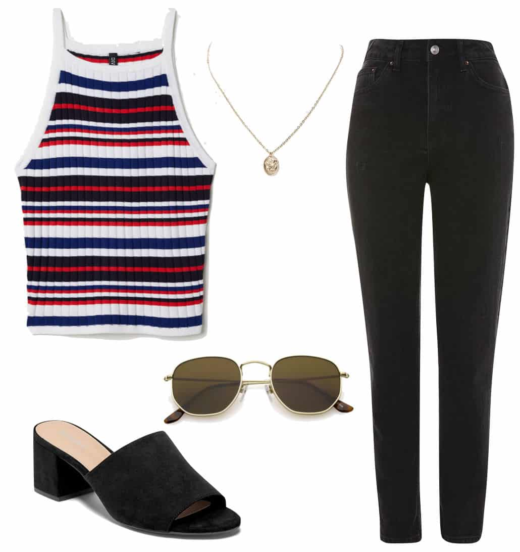 Lucy Hale Outfit: multicolor striped sleeveless top, gold pendant necklace, black mom jeans, brown hexagonal sunglasses, and black block heel mules