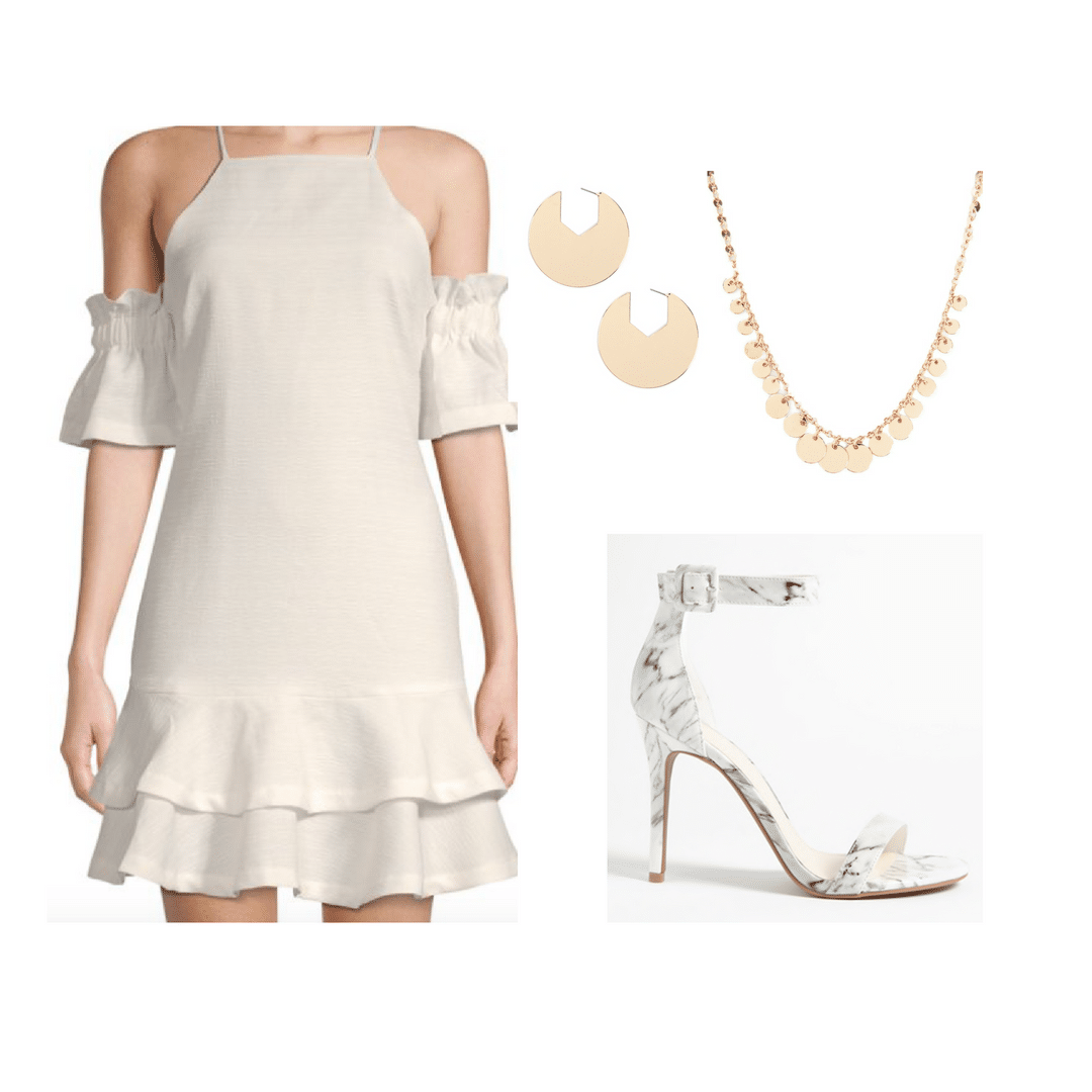 Sorority recruitment day 4 outfit with white dress, heels, pearls, earrings