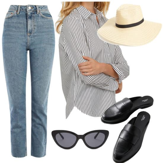 Dakota Johnson Outfit: straight leg jeans, black and white striped button-down shirt, wide brim straw hat, black loafer mules, and black cat eye sunglasses