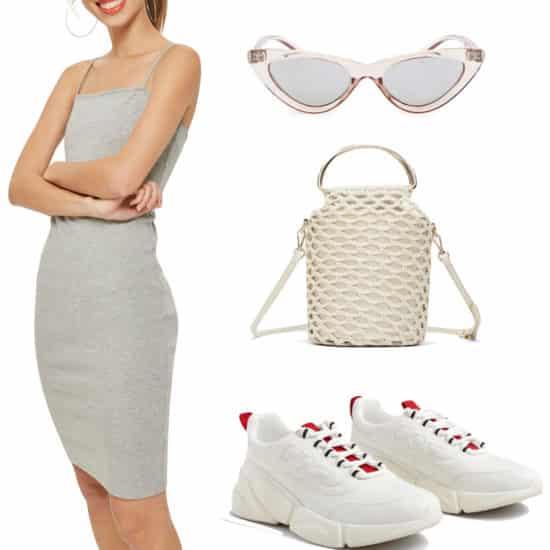 Emily Ratajkowski Outfit: gray square neck spaghetti strap midi bodycon dress, plastic cat eye sunglasses, crochet shoulder bag, and white chunky sneakers
