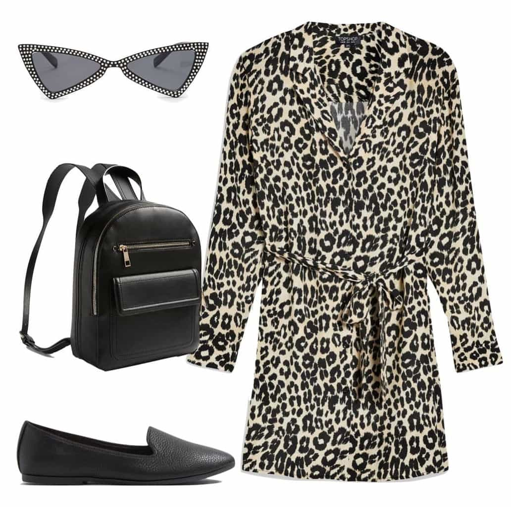 Emma Roberts Outfit: leopard print shirt dress, studded cat eye sunglasses, black faux leather backpack, and black flats