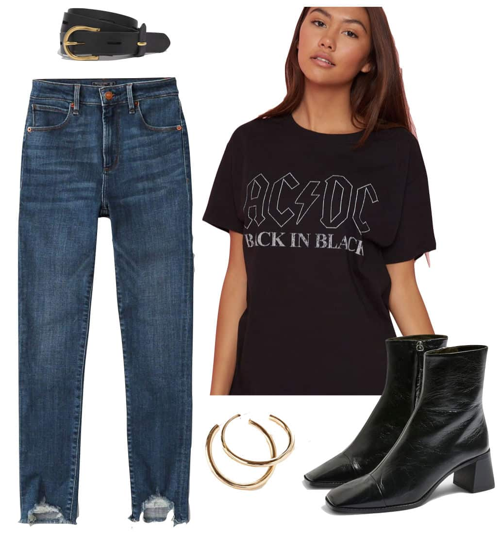 Selena Gomez Outfit: ACDC graphic brand t-shirt, black and gold belt, high rise dark wash ripped hem jeans, chunky hoop earrings, and black angular mid-heel booties
