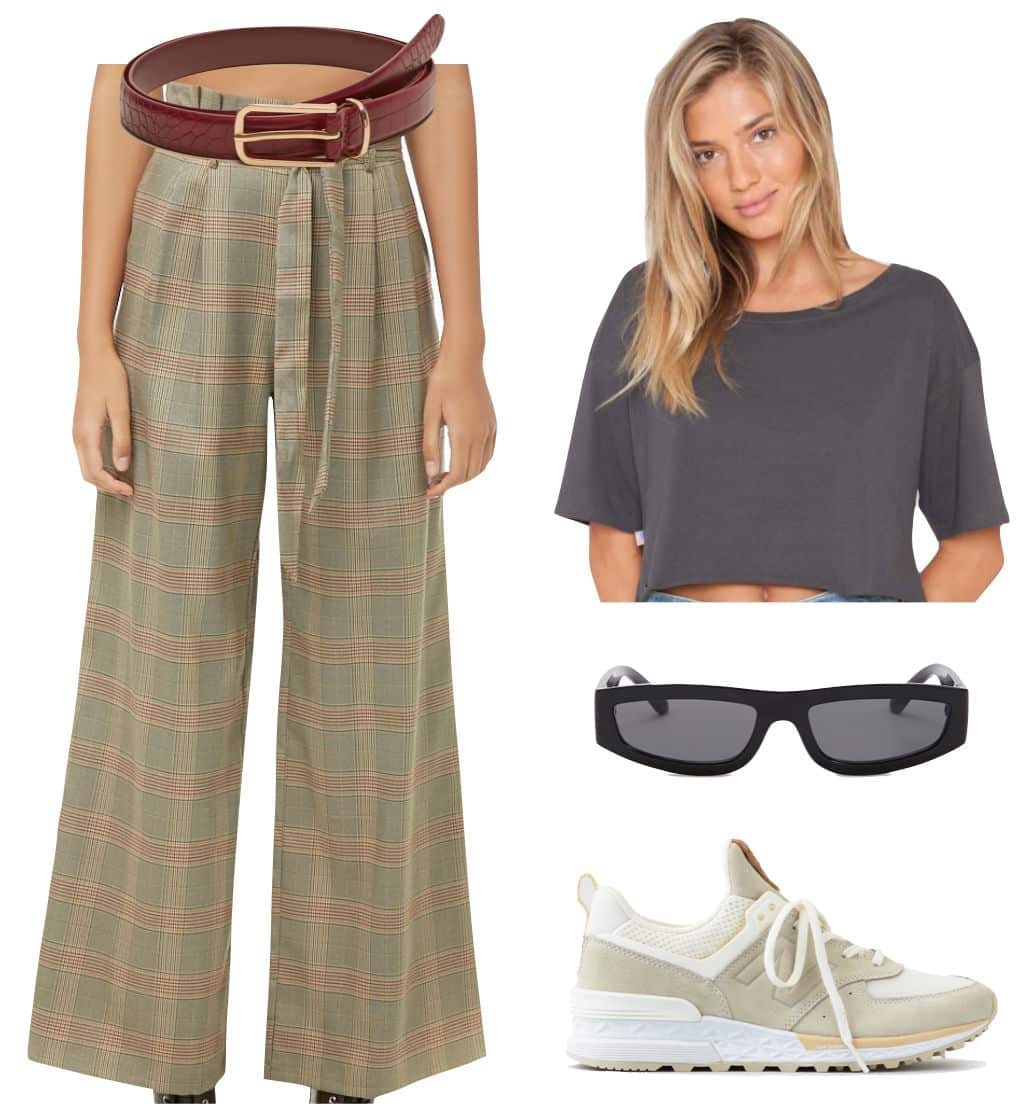 Emily Ratajkowski Outfit: plaid wide leg pants, red belt with gold buckle, gray cropped t-shirt, black rectangular sunglasses, and off-white sneakers