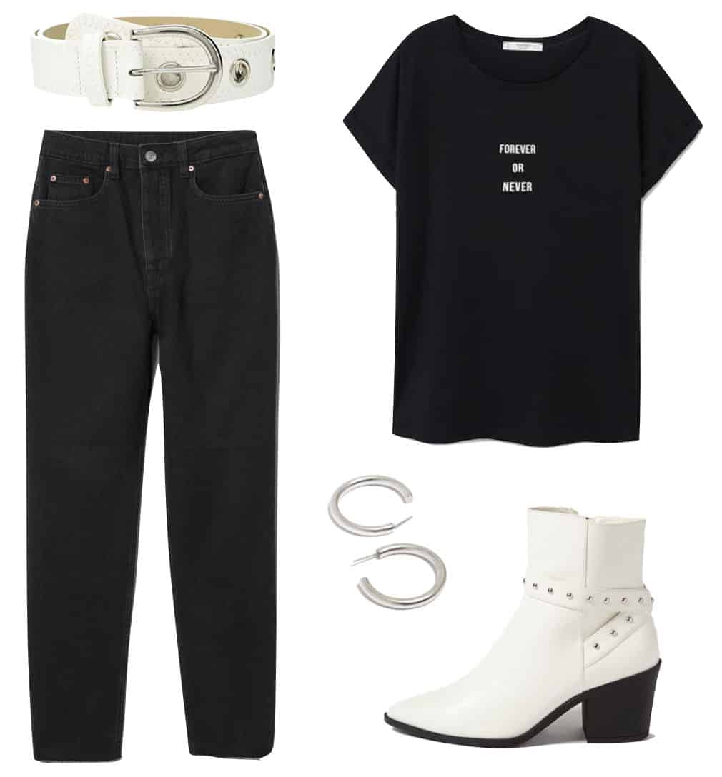 Madison Beer Outfit: black and white graphic slogan t-shirt, black mom jeans, white and silver grommet belt, chunky silver hoop earrings, and white ankle booties