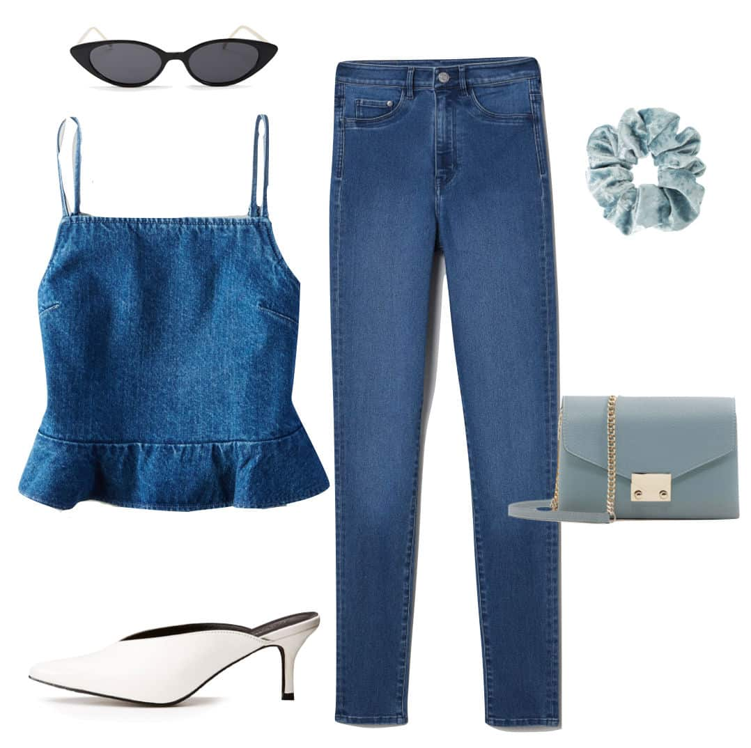 Kendall Jenner Outfit: denim peplum crop top, skinny jeans, black skinny cat eye sunglasses, blue scrunchie, blue chainlink strap crossbody bag, and white kitten heel mules