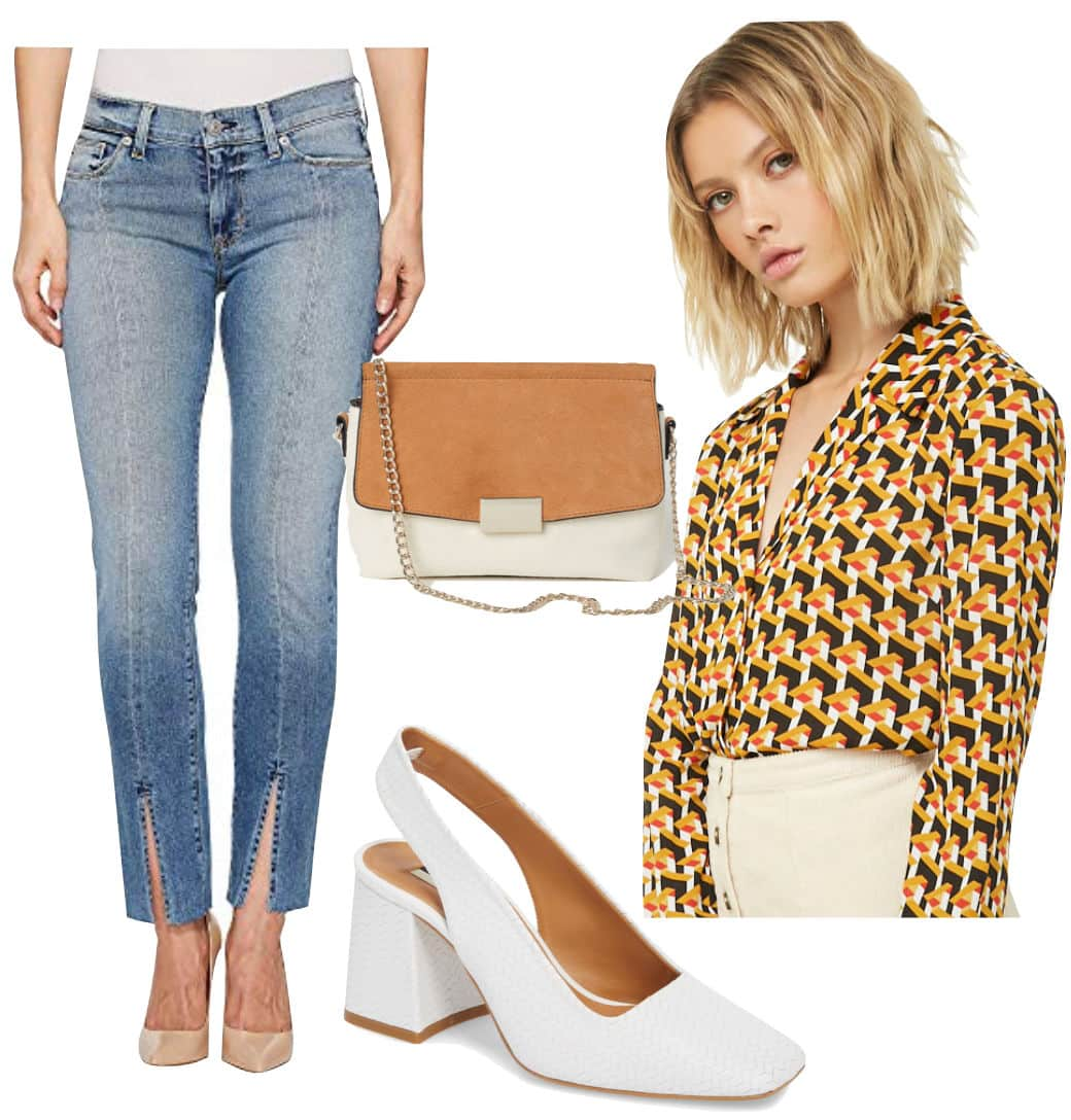 Lucy Hale Outfit: seamed split front jeans, geometric print blouse, structured two tone handbag, and white slingback square toe pumps