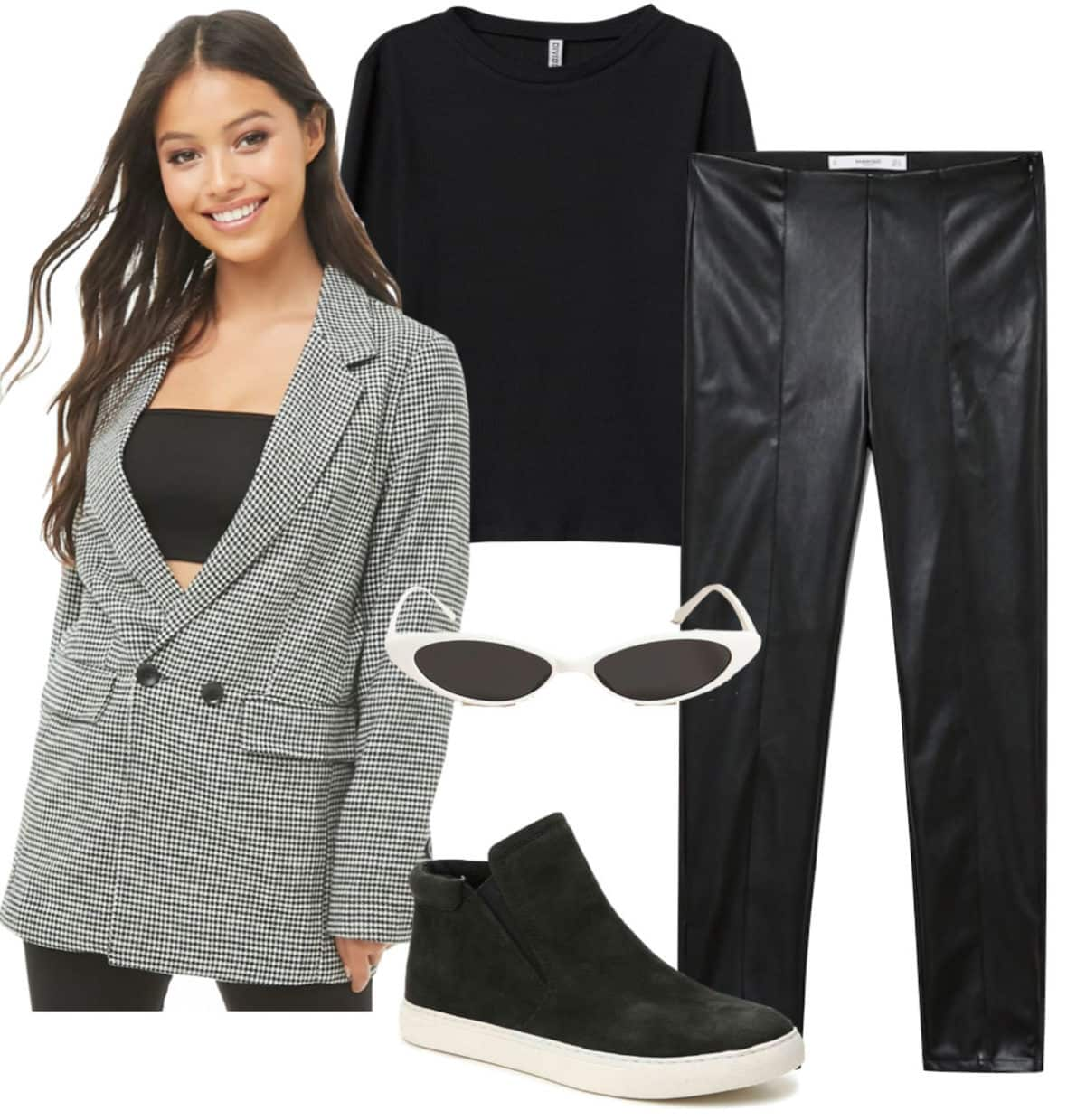 Kaia Gerber Outfit: faux leather pants, black crew neck top, houndstooth print blazer, oval white sunglasses, and black high top sneakers