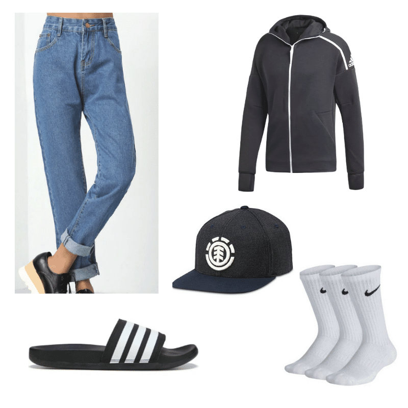 Kristen Stewart outfit with blue jeans, hoodie, black hat, socks