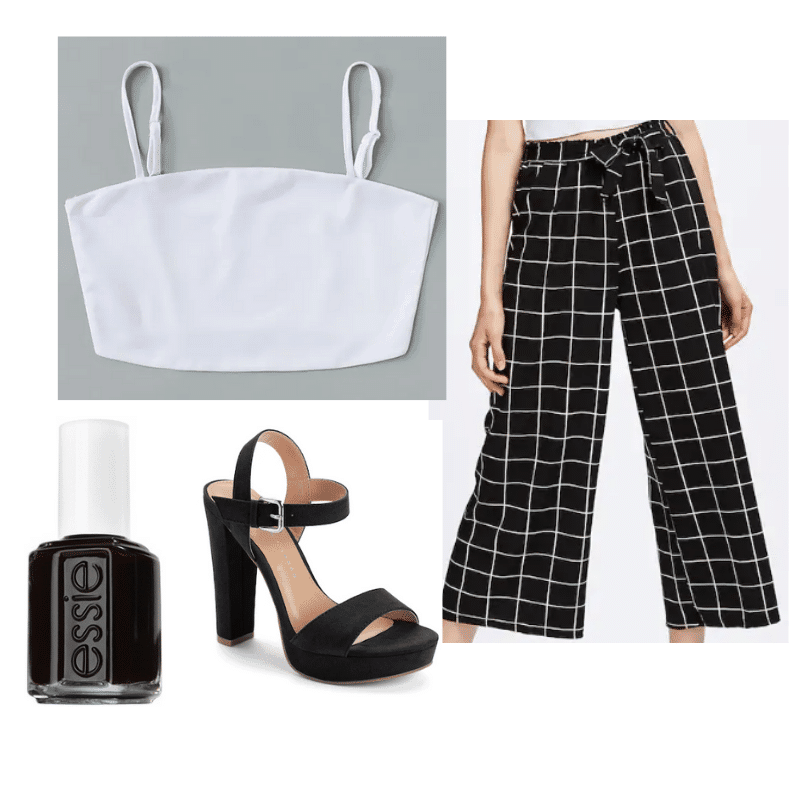 Kristen Stewart outfit with plaid pants, crop top, platform heels