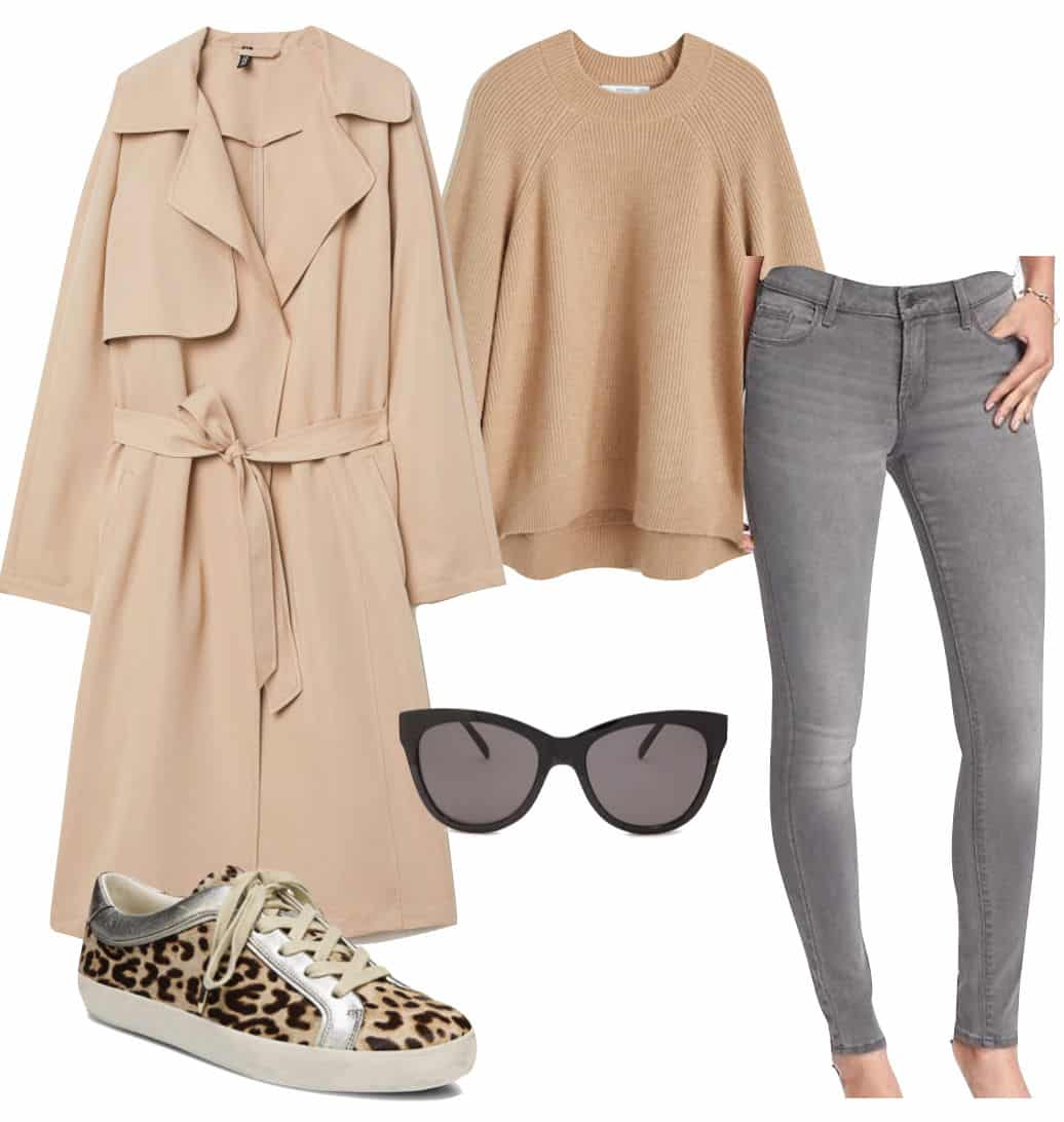 Lucy Hale Outfit: beige trench coat, beige sweater, gray skinny jeans, black cat-eye sunglasses, leopard print low-top sneakers