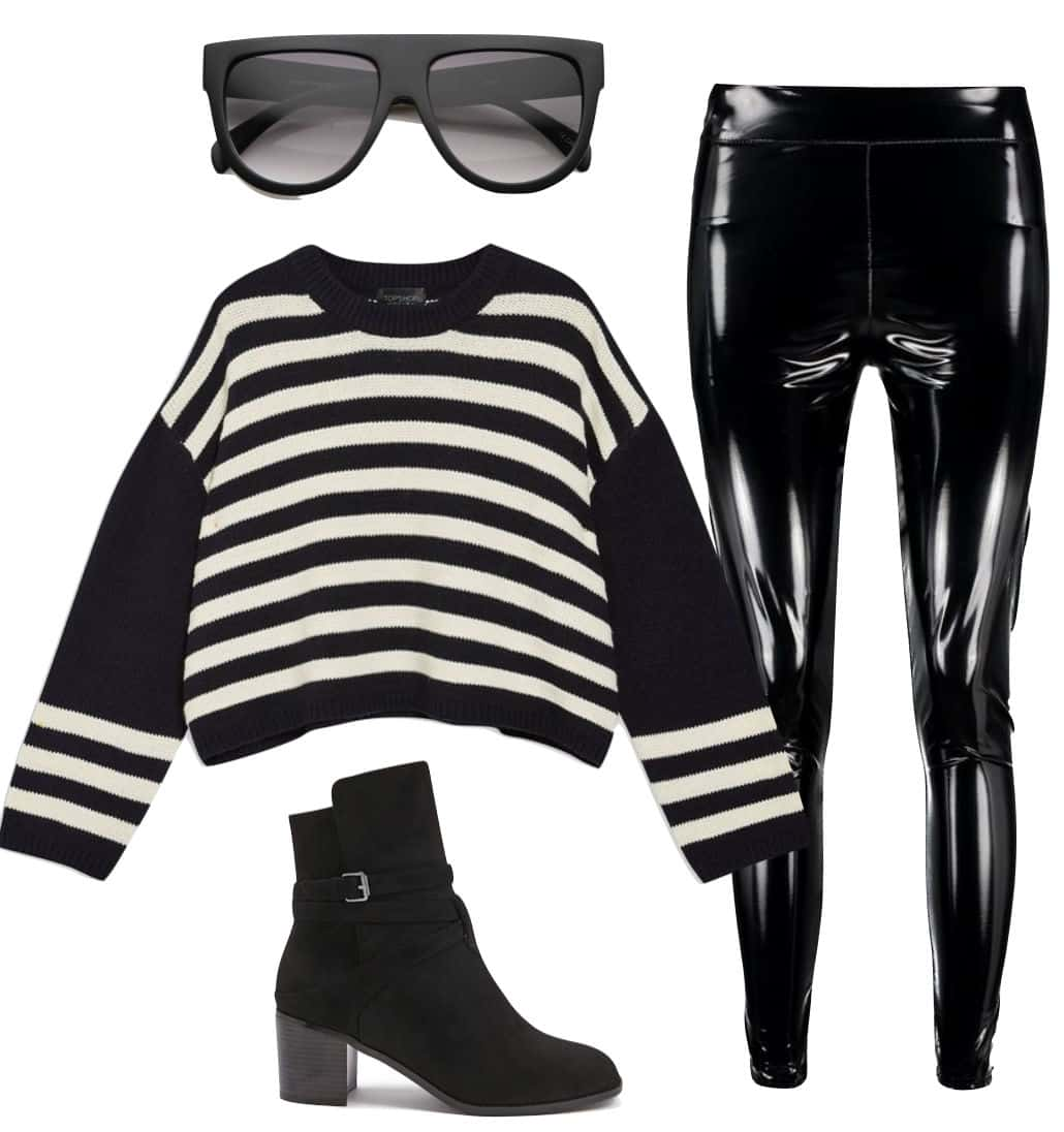 Olivia Palermo Outfit: black and white striped sweater, oversized flat top sunglasses, black vinyl leggings, black ankle booties