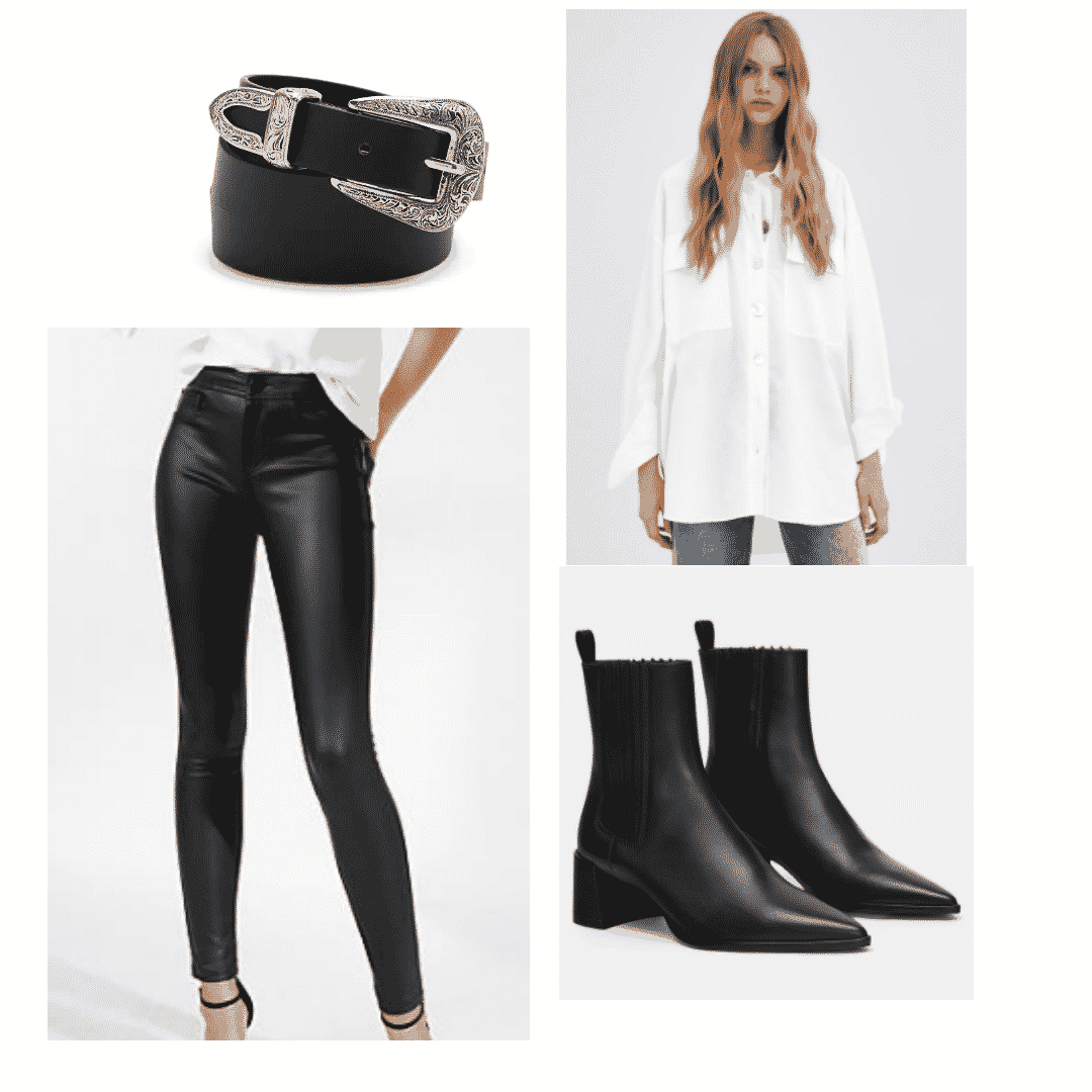Leather leggings outfit with white shirt, western belt, ankle boots