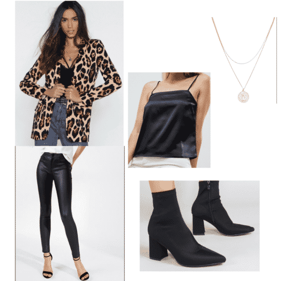 Leather leggings outfit: Leopard cardigan, silk cami, sock boots, necklace