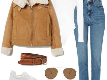 Hailey Baldwin Outfit: beige faux fur aviator jacket, white long sleeve bodysuit, brown leather belt, blue straight leg jeans, brown metal aviator sunglasses, and white chunky sneakers