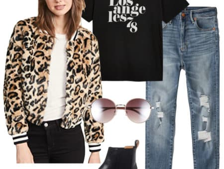 Lucy Hale Outfit: faux fur leopard print bomber jacket, black and white graphic print t-shirt, ripped skinny jeans, rose colored round sunglasses, and black Chelsea booties