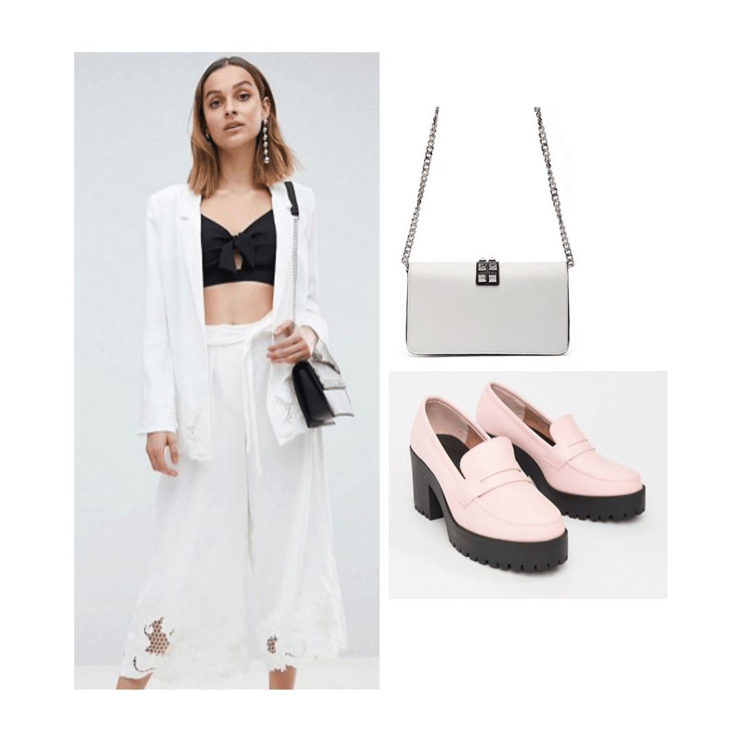 Minimalist outfit idea for college - all white outfit, pink shoes, white bag