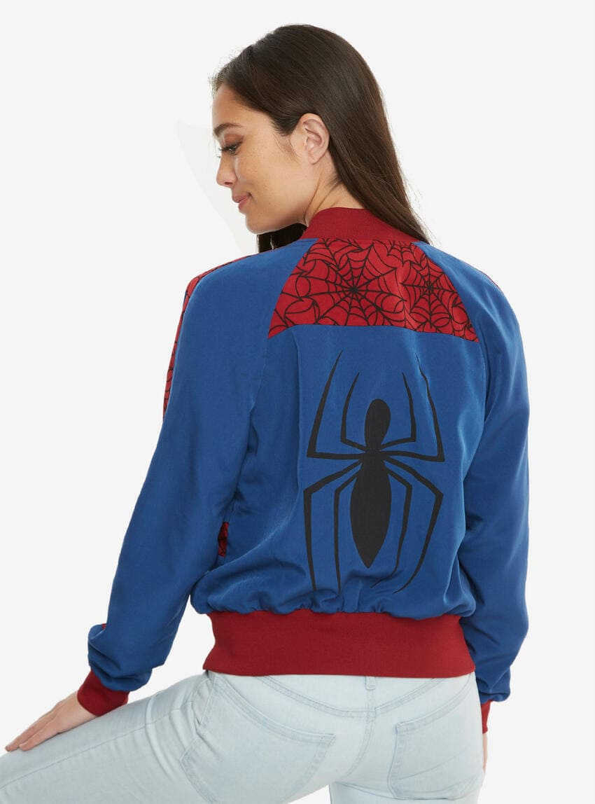 Blue satin bomber jacket with red panels and black spider print on the backside.