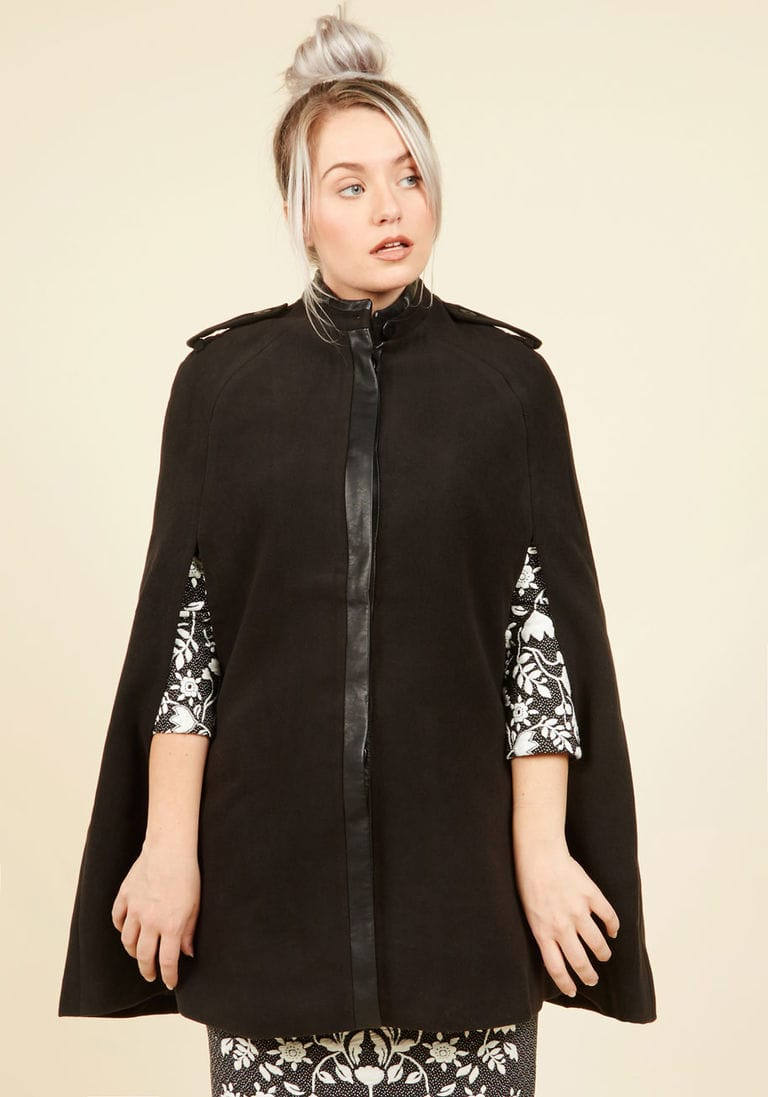 Black cape coat from Modcloth
