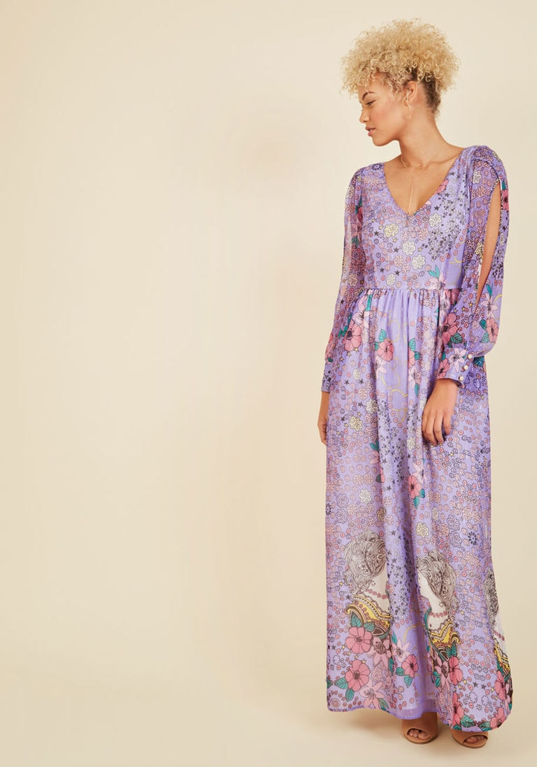 Purple printed maxi dress from Modcloth