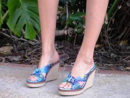 Patterned wedges on a college fashionista at the University of Miami