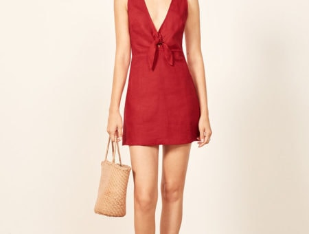Reformation Cherry Red Cote Dress