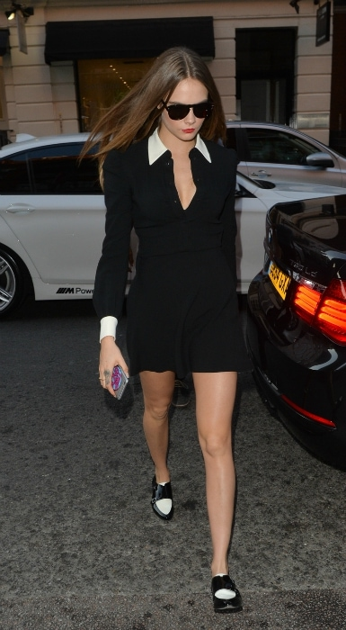 Cara Delevingne black dress with white collar