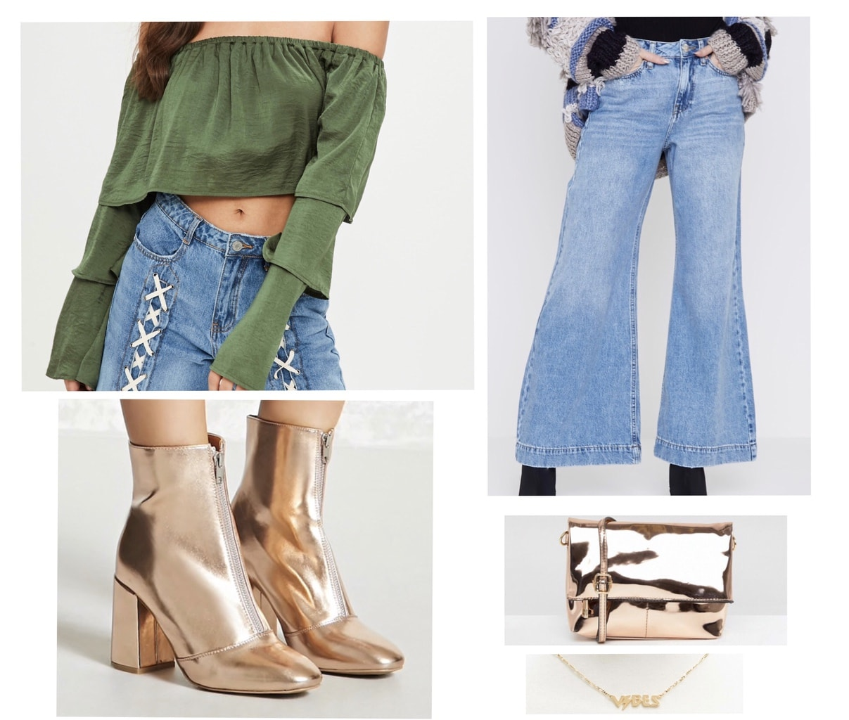 Cute St patricks day outfits: St. Patrick's night look with green off the shoulder top, light wash flare jeans, gold ankle boots, metallic crossbody bag, and gold necklace
