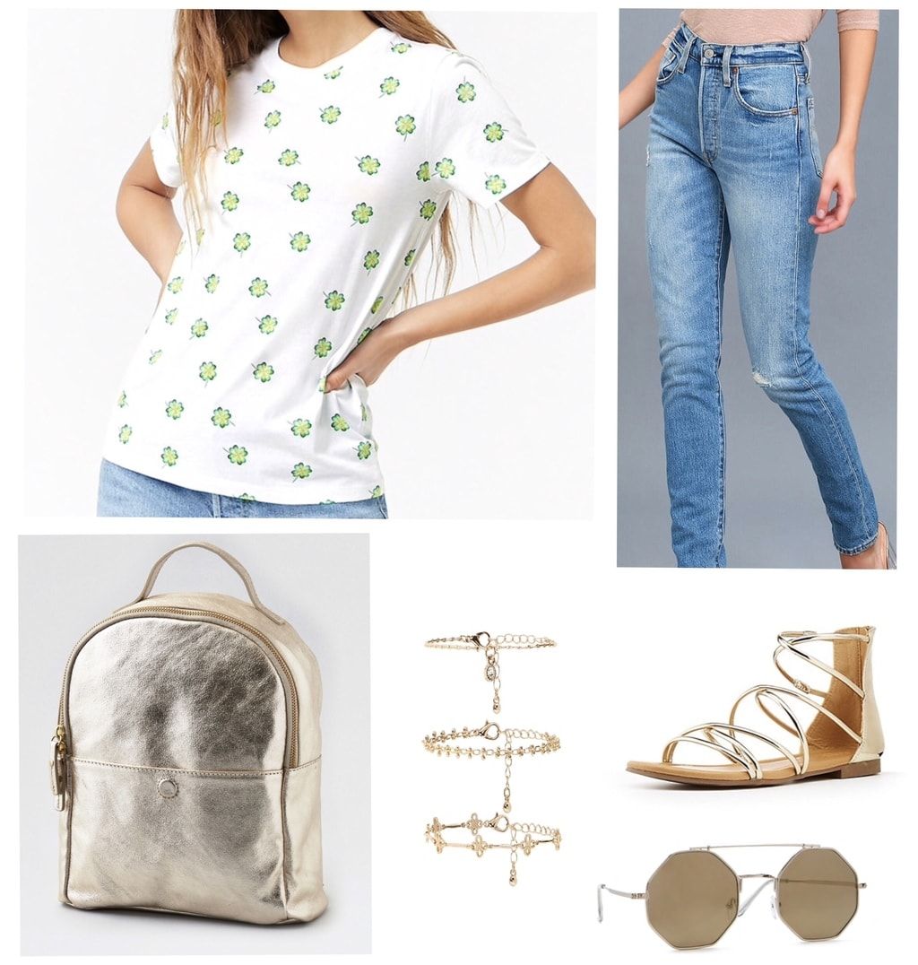 Cute st patricks day outfit: Shamrock tee shirt, high waisted jeans, gold metallic mini backpack, sandals, round sunglasses, charm bracelets