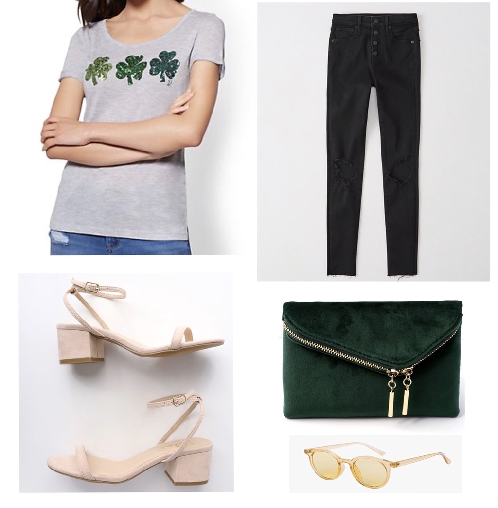St. Patricks Day Casual Look: Cute st patricks day outfit with shamrock tee shirt, black skinny jeans, green clutch, nude sandals, gold sunglasses