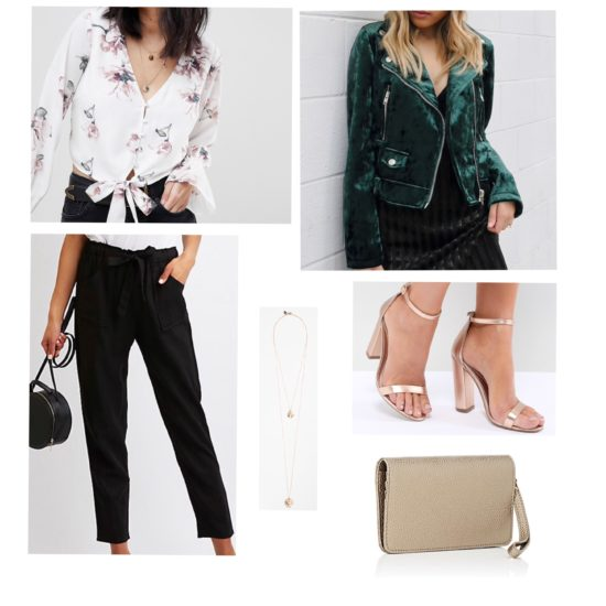 St. Patrick's Day Night Time outfit: Cute st patricks day outfit with green velvet moto jacket, floral blouse, black wide leg pants, gold heels, gold layered necklace and gold crossbody bag