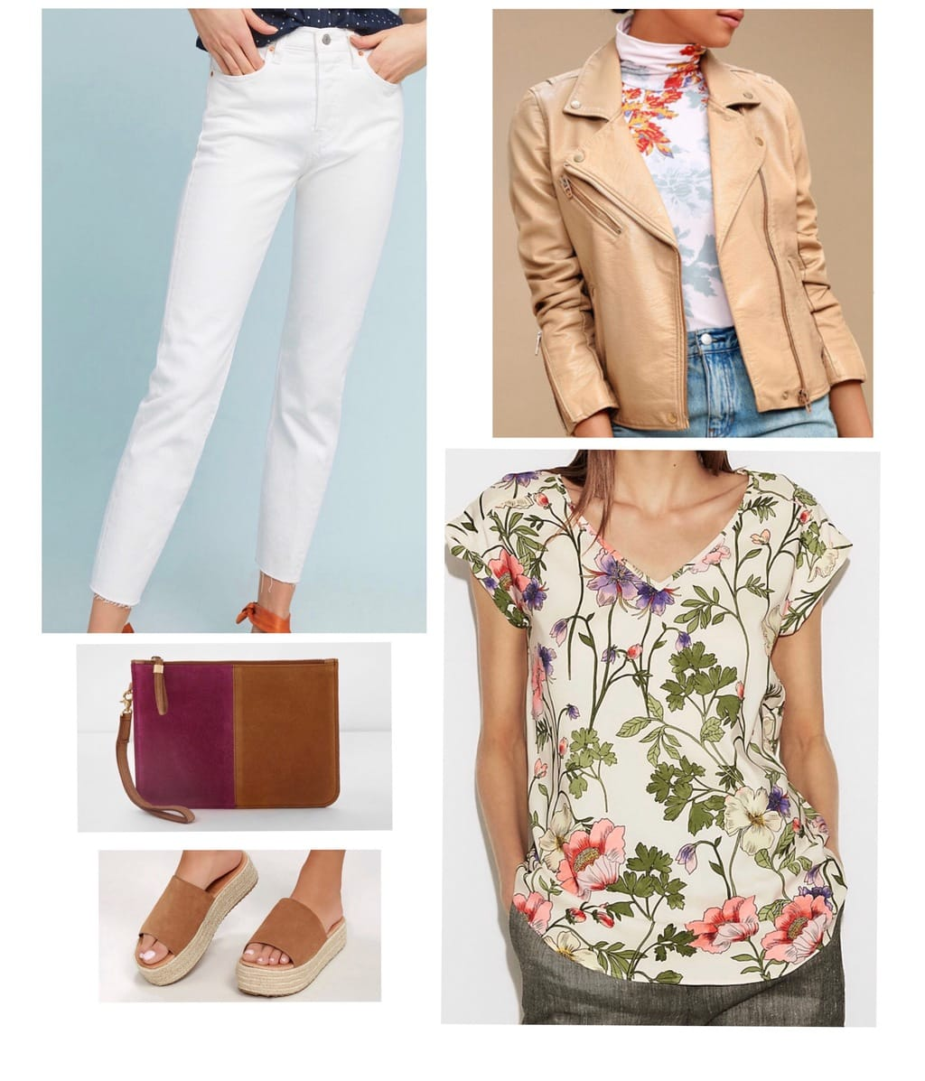 White denim jeans styled with a floral print shirt, platform sandals and leather jacket