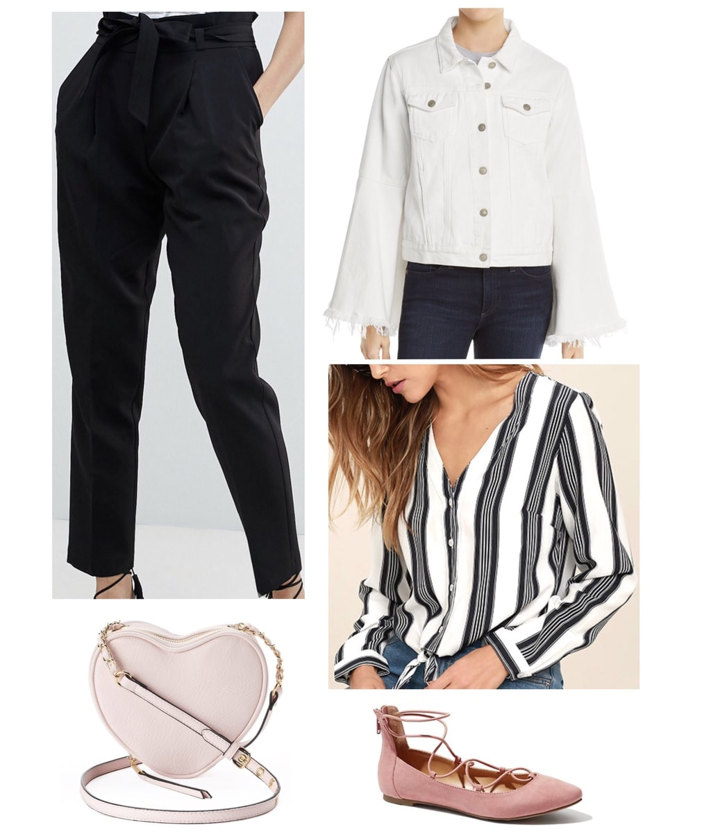 White denim jacket styled with paper-bag trousers and blouse