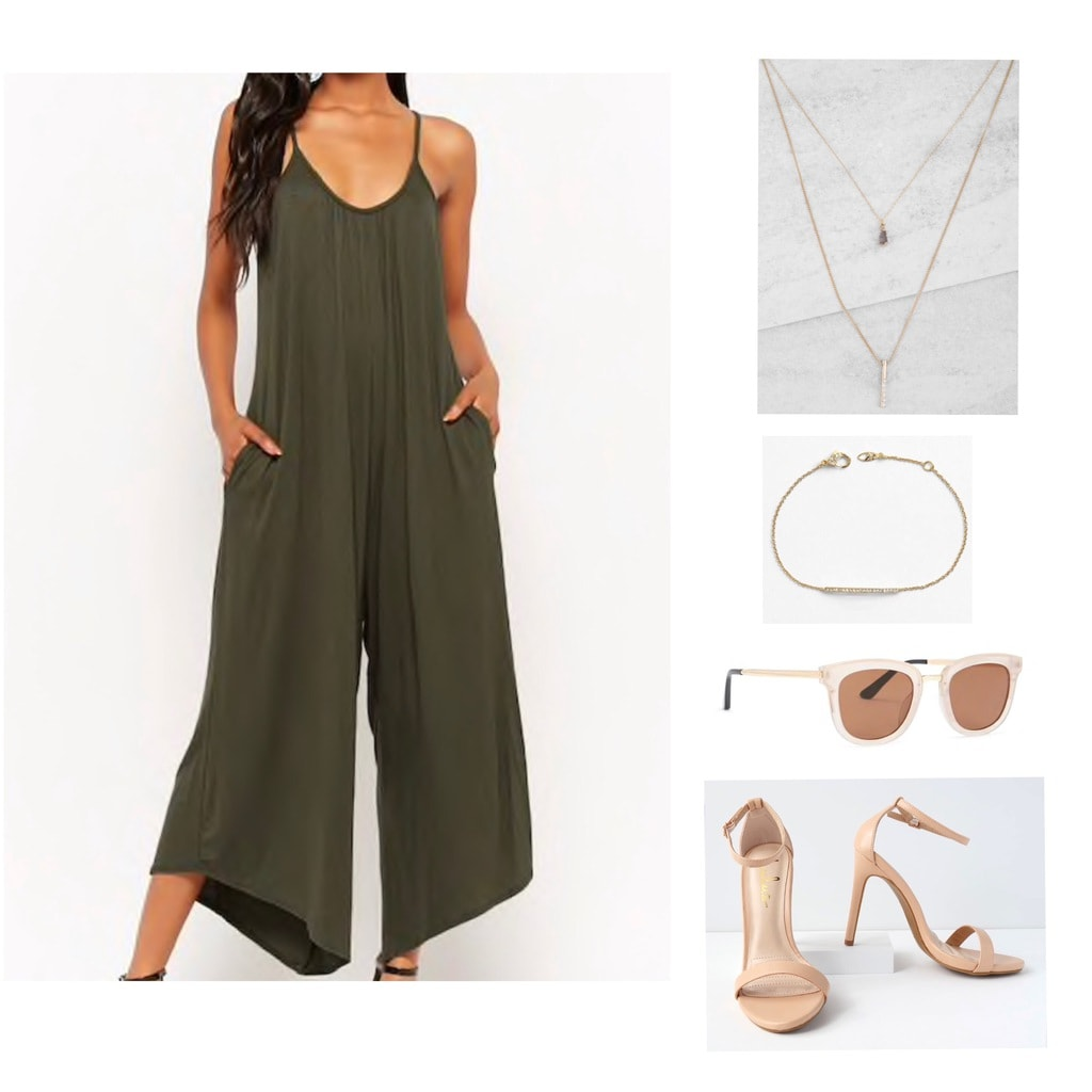 Olive green jumpsuit with gold jewelry, sunglasses and stilettos