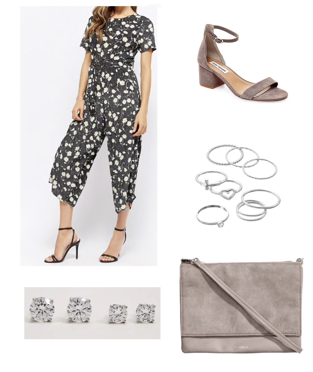 Motel Floral Print Jumpsuit with faux suede sandals and purse, silver jewelry