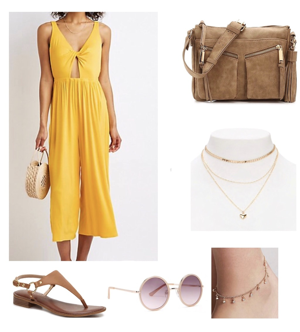 Yellow cut-out jumpsuit paired with tan sandals, purse and gold jewelry