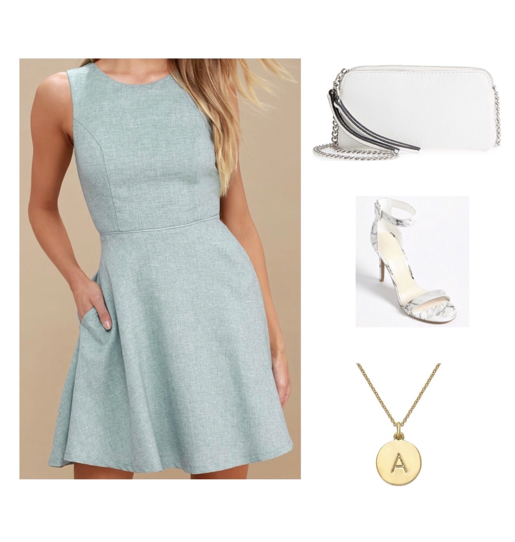 mint blue dress with white heels and purse, pendant necklace; wedding guest attire