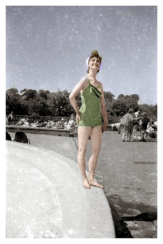 Woman in the 1950s wearing a retro swimsuit