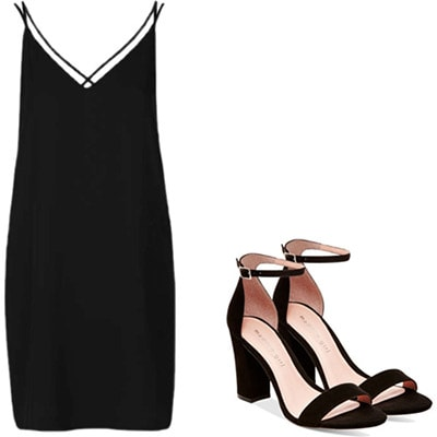 1990s outfit: Slip dress and strappy heels