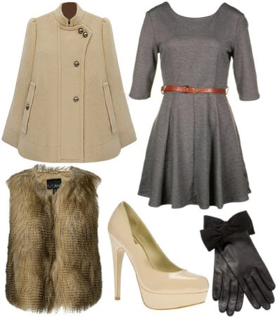 Outfit inspired by 1A Classe - Grey dress with belt, cape coat, fur vest