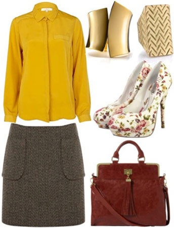 Outfit inspired by 1A Classe - Utility skirt, yellow jacket, floral pumps