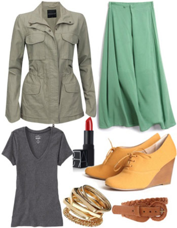 Outfit inspired by 1A Classe - Green skirt, military jacket, yellow wedges