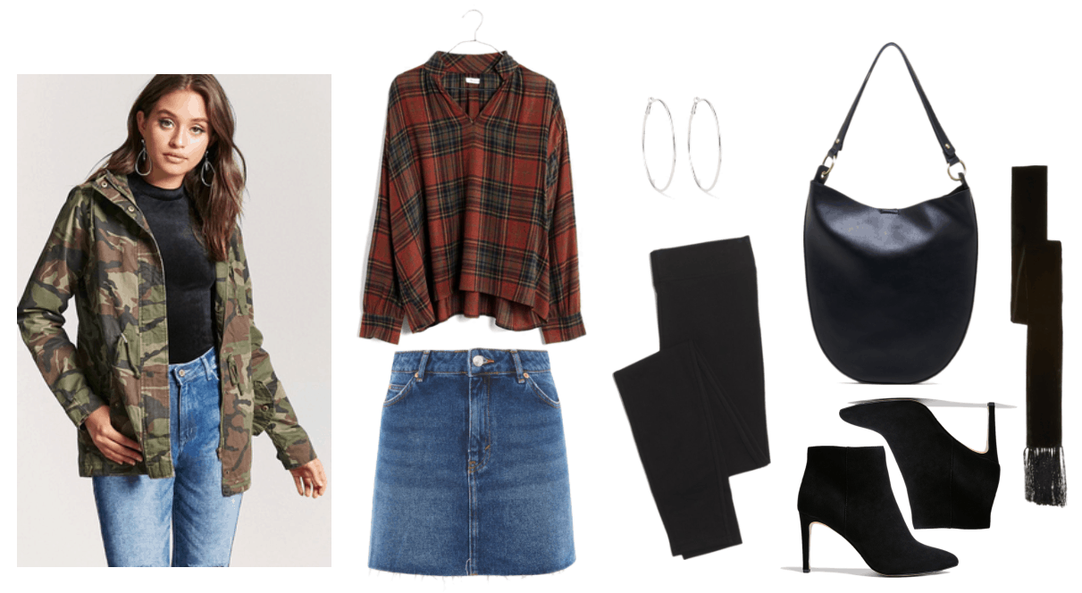 Camouflage-print cargo jacket, red plaid pop-over shirt, denim mini skirt in medium-blue wash, large silver hoop earrings, black leggings, black crescent-shaped hobo bag with gold hardware, black pointed-toe skinny-heeled ankle boots, black velvet skinny scarf with fringe