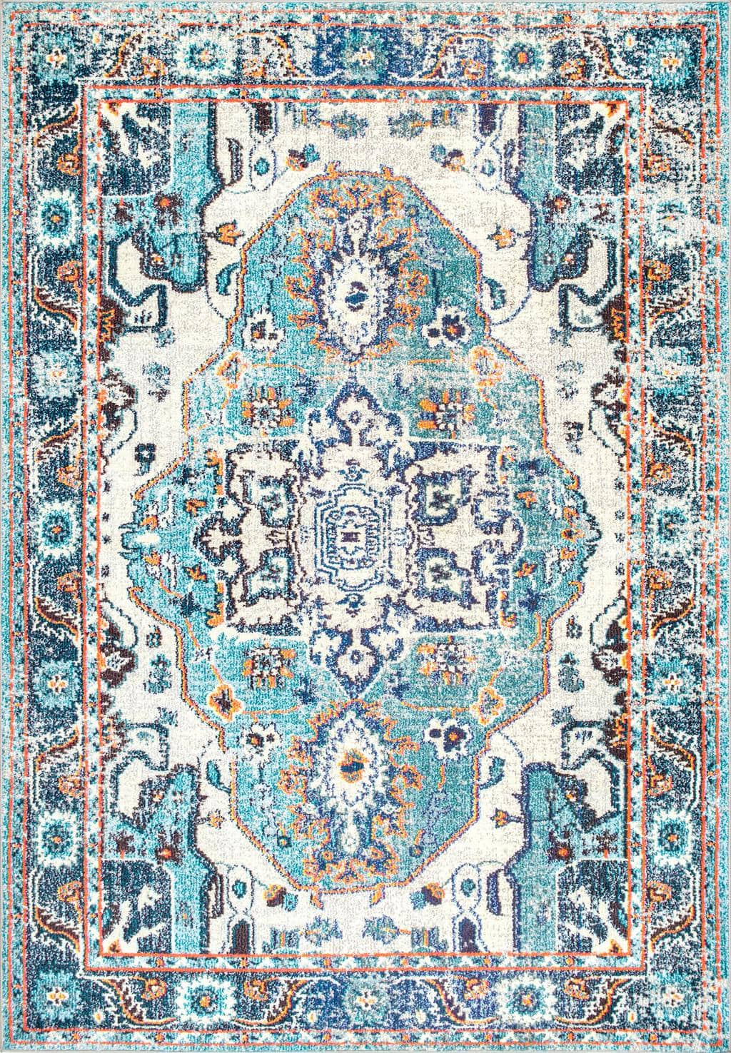 College dorm room furnishings - Mosaic medallion rug in shades of navy, light blue, orange, and cream from Rugs USA.